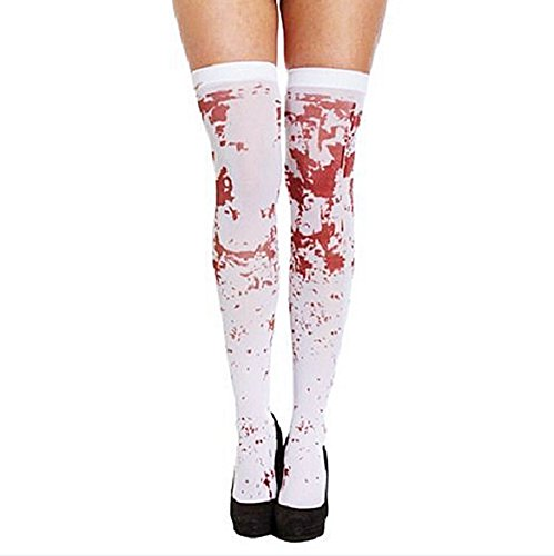 Helisopus Halloween White Bloody Zombie Blood Stained Stockings Fancy Dress Costume