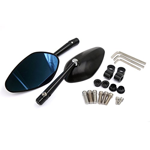 Rear Polarized View Mirror (uxcell Motorcycle CNC Aluminum Alloy Black Polarized Side Rear View Mirror 2 Pcs)