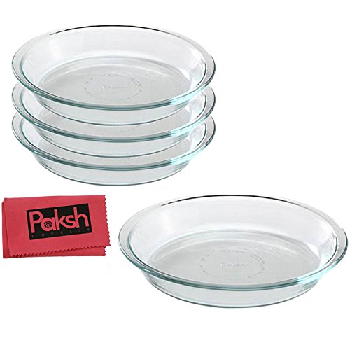 Glass Bakeware Pie Plate/Dish 9 Inch Round Clear, Microwave,