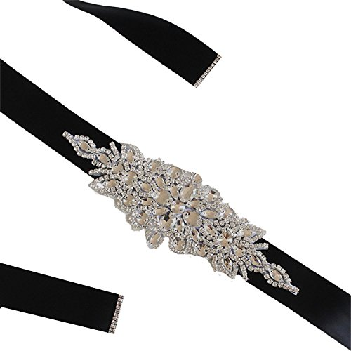 - Vicokity Bridal Crystal Rhinestone Sash Belt With Ribbon For Wedding Party Prom Evening Dresses (175cm long, Black)