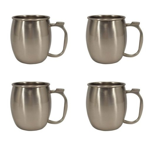 20 oz. Stainless Steel Moscow Mule Mug, Set of 4 Silver