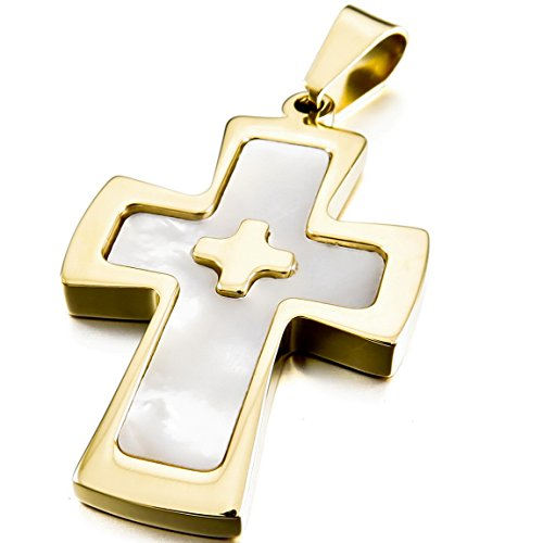 INBLUE Men's Stainless Steel Mother of Pearl Abalone Shell Pendant Necklace Silver Gold Cross (Abalone Cross Pendant)