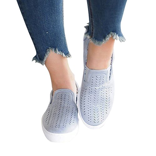Paris Hill Women's Casual Hollow Loafer Canvas Flats Shoes Blue 8.5 (Canvas Slip Ons Womens Shoes)
