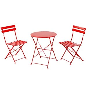 Grand patio Premium Steel Patio Bistro Set, Folding Outdoor Patio Furniture Sets, 3 Piece Patio Set of Foldable Patio Table and Chairs, Red