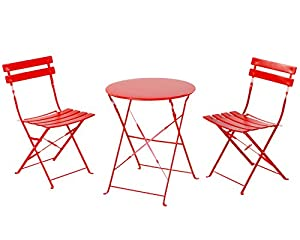 Lovely Grand Patio Premium Steel Patio Bistro Set, Folding Outdoor Patio Furniture  Sets, 3 Piece Patio Set Of Foldable Patio Table And Chairs, Red