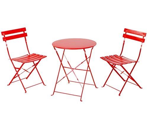 Grand Patio Premium Steel Patio Bistro Set, Folding Outdoor Patio Furniture Sets, 3 Piece Patio Set of Foldable Patio Table and Chairs, Red (Bistro Garden Chairs)