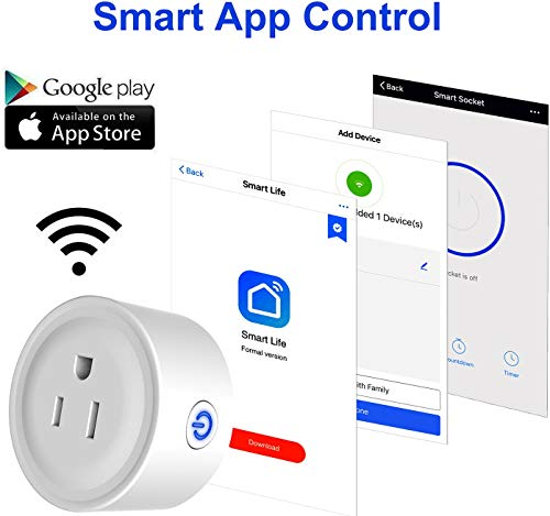 GPCT Smart App Controlled WiFi Plug Outlet. Works W/Alexa/Google Home/IFTTT, Remote Control To Any Connected Home Appliance, No HUB Required, Timer Function, Voice Control Smart Socket- iOS/Android by GPCT (Image #3)