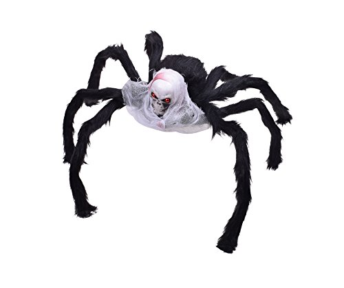 Giant Halloween Spider Fake Spiders Skull Araneid Decorated with White Veil (Homemade Scary Halloween Decorations Yard)