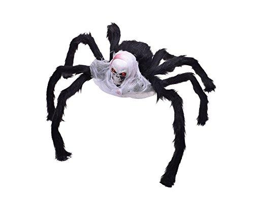 Giant Halloween Spider Fake Spiders Skull Araneid Decorated with White Veil (Homemade Halloween Door Decoration Ideas)