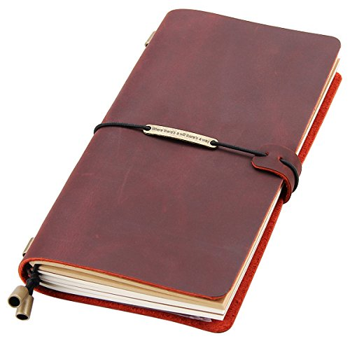 Leather Writing Journal Notebook Refillable, Handmade Travelers Notebook for Men & Women, Perfect for Writing, Gifts, Travelers, Standard Size 8.5 x 4.5 Inches - Wine