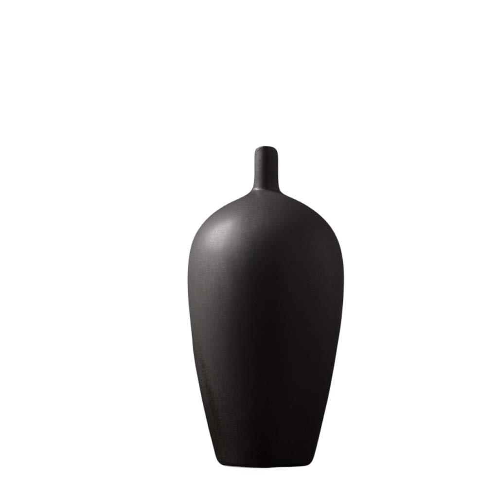 花瓶日本の禅セラミックドライフラワー花瓶装飾白黒クリエイティブリビングルームテーブルフラワーアレンジャーホームソフトデコレーション LQX (Size : S) B07SGCBCYD  Small
