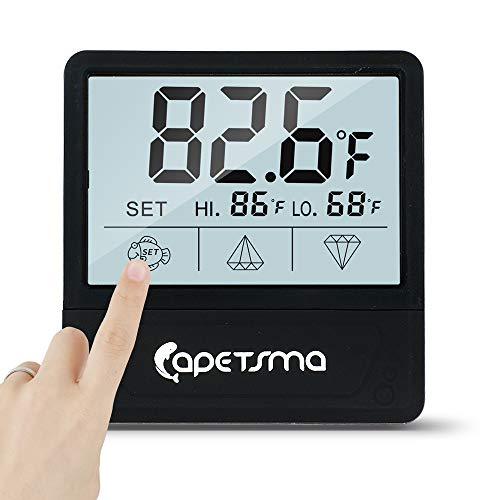 Qguai Aquarium Thermometer, C/F Switch LCD Digital Fish Tank Thermometer with Large Clear Screen, Monitor Water Terrarium Temperature, No Messy Wires in Your Saltwater Freshwater and Reef Aquarium. (Best Temperature For Freshwater Aquarium)