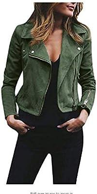 96f800531 Doufine Womens Bomber Jacket Faux Suede Lapel Zipper Moto Biker ...