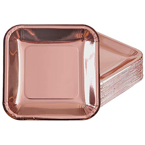 (Aneco 60 Pack 7 Inches Rose Gold Foil Paper Plates Disposable Square Plates for Anniversary, Wedding, Birthday Party Supplies (7)
