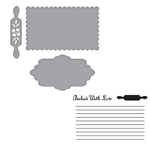 Spellbinders SDS-159 Recipe Card Stamp & Die Set, Metal