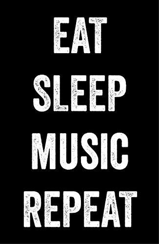 Eat Sleep Music Poster, 11x17 Inches, Musician Decor, Song Writer Wall Art Print, Musical Guitar