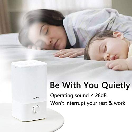 411gAtfTGcL. AC - Raydrop Cool Mist Humidifier, 2.5L Essential Oil Diffuser For Bedroom Nursery,Home And Office, Adjustable Mist,Auto Shut-Off, Easy To Clean,Dial Knob