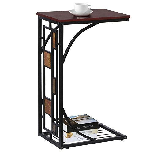 Topeakmart C shaped Side Sofa Snack Table Coffee Tray End Table Living Room Furniture (Furniture Tables Living Room)