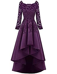 Appliques Long Sleeve Lace Hi-lo Bridesmaid Dresses Short Satin Evening Gowns for Women Formal