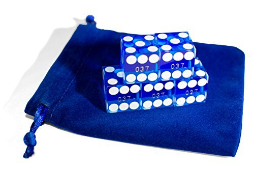 Artemis Brown Trading Company - Set of 5 Craps Casino Dice with Carrying Bag (BLUE) - 19MM. Grade AAA. Precision Machined Dice. Individually Serialized. (Professional).