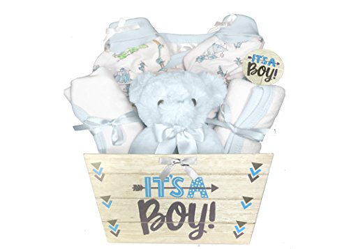 377ae84521ad Baby Shower Gift Basket for a Boy – 6 Piece Blue Teddy Bear Gift Set ...