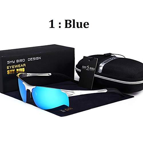 Soleil sunglasses Conduite Lunettes Lunettes de polarisées Aluminium Sport magnésium Homme Miroir air de Plein de Sports blue en de Mjia pour 68dnq8x