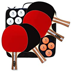 EVERYTHING YOU NEED IN A PING-PONG PADDLE SET      High Quality - Designed in the United States with extra care to detail making your game the best it can be.   Professional Grade Construction   · 5-ply poplar wood blade with flared handle f...