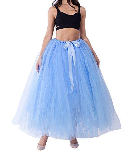 Jupe Longue Petticoat En Elastic Ceinture Princesse Lake Bleu Tulle Femme 100cm Vintage OPZkXiu