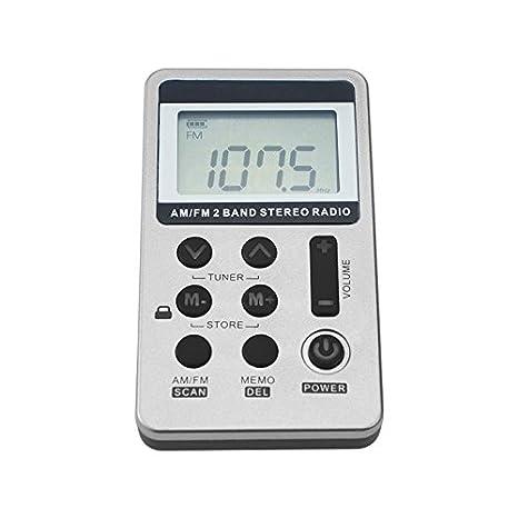 WOVELOT 1pz Portatil DC 5V Mini Radio de Dos Bandas de Bolsillo Receptor Digital FM//Am con Auriculares Cable USB