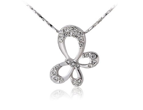 ITALINA Elegant Butterfly Crystal Diamond Necklace (Silver) ()