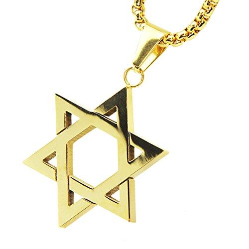 (Men's Stainless Steel 14k Gold Tone Six Point Star Pendant 24