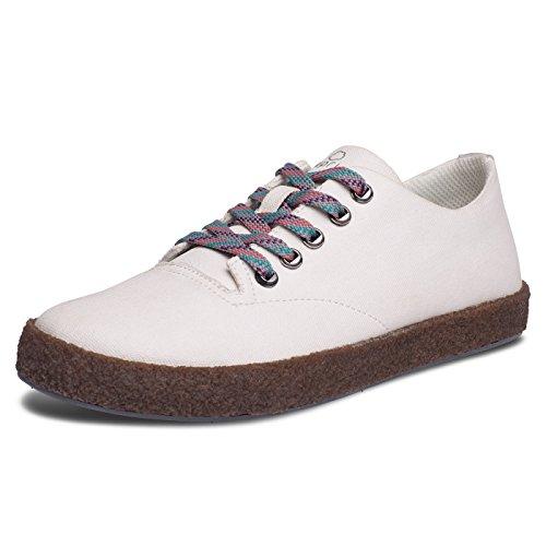 Bluprint Encinitas Plimsol Damesmode Schoenen In Waxed Canvas Met Sneakers Cloud Opdruk Comforttechnologie, Krijt Ivoor 11 D (m) Us