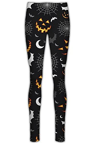 Halloween Leggings (Womens Halloween Pumpkin Stretchy Leggings Ladies Pants Spider Web Bats Skull)
