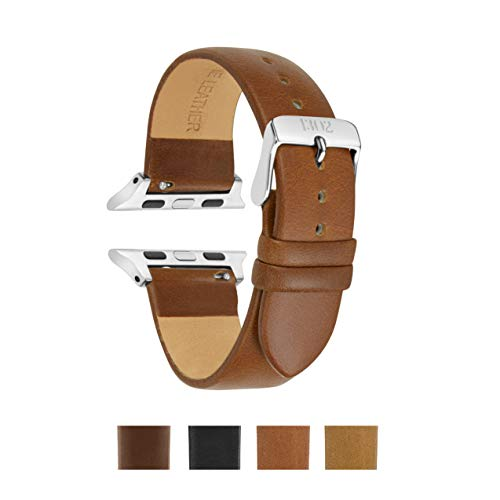 Compatible Apple Watch Band 38mm, 42mm, Vegetable Tanned Leather, Italian Leather, Replacement for iWatch, Fits Apple Watch Series 4 Series 3 Series 2 Series 1 Sport (42mm, - Leather Vegetable Brown Tanned