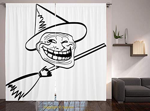Living Room Bedroom Window Drapes/Rod Pocket Curtain Panel Satin Curtains/2 Curtain Panels/108 x 84 Inch/Humor Decor,Halloween Spirit Themed Witch Guy Meme Lol Joy Spooky Avatar Artful Image,Black -