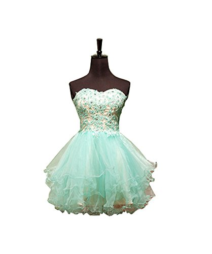 Elley Women's A Line Sweetheart Lace Applique Beading Short Strapless Homecoming Dress Party Gown Green US2
