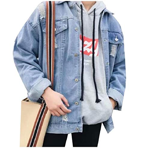 Washed Men's Jacket Buttoned Blue Denim Ripped RkBaoye Coat Down Turn Collar dtOqnT8w