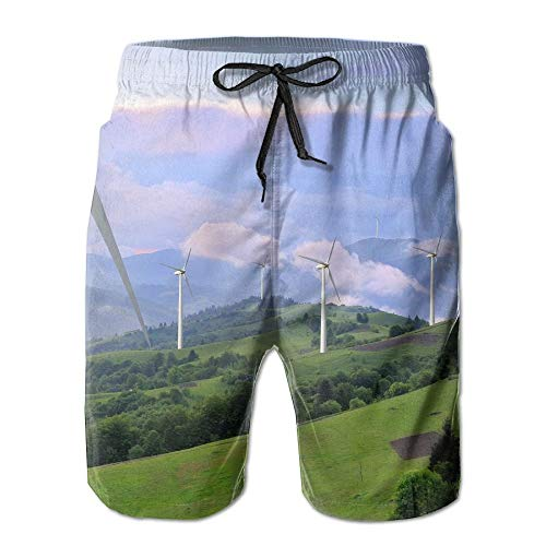 Eco Power Wind Turbines Generating Electricity Summer Quick Dry Board/Beach Shorts for Men - Wind Generating Turbines