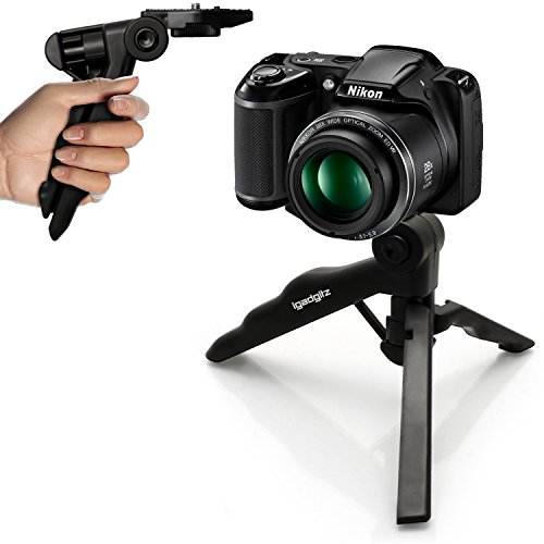 iGadgitz 2 in 1 Pistol Grip Stabilizer Mini Table Top Stand Tripod for Nikon D Series SLR DSLR Cameras DSLR D1 D100 D1H D1X, D200 D2H D2HS D2X D2XS, D3 D300 D3000 D300S D3100 D3200 D3300 D3S