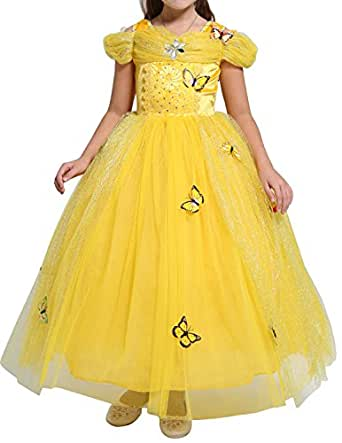 Quesera Girl's Halloween Costume Off Shoulder Layered Ruffle Princess Belle Dress, Tagsize 130cm=Ussize 51.18inches