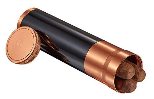Visol Carlos Jr. 3-Cigar Travel Humidor with Copper Top, Polished Black