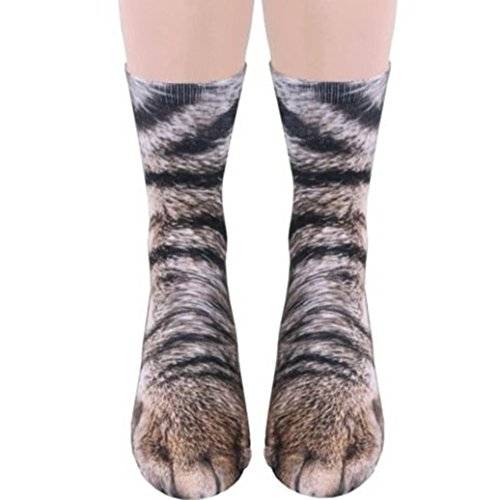 - CYCTECH Popular Unisex Socks 3D Animal Paw Crew Socks Sublimated Print Casual Socks (I)