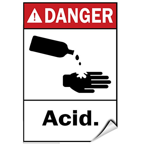 Danger Acid Hazard Sign Danger Signs LABEL DECAL STICKER 5 inches x 7 inches - Acid Sign