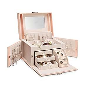 Vlando Mirrored Jewelry Box Organizer for Girls Women Vintage Gift Case - Faux Leather (Pink)