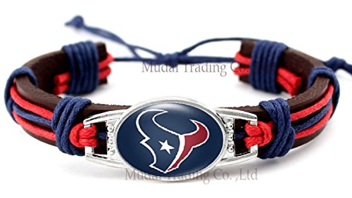 Houston Texans Adjustable Leather Wristband Jewelry Bracelet - Shipped from U.S.A. (Leather Houston Texans)