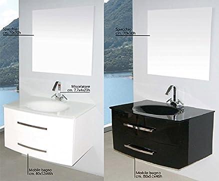 mobile arredo bagno da 80 cm sospeso con lavabo in cristallo nero ... - Arredo Bagno Nero