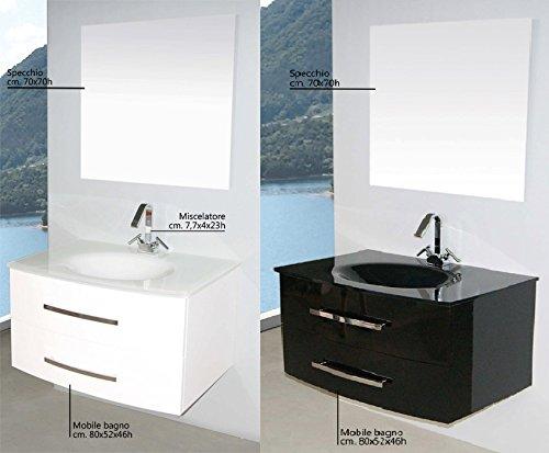 E Commerce Arredo Bagno.Mobile Arredo Bagno Da 80 Cm Sospeso Con Lavabo In Cristallo Nero