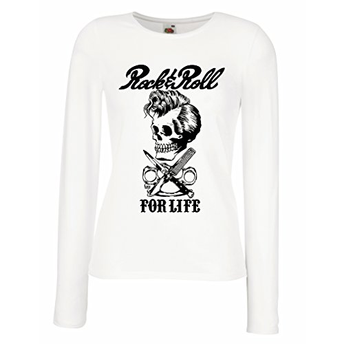 Camisetas de Manga Larga para Mujer Rock and Roll For Life - 1960s, 1970s, 1980s - Banda de Rock Vintage - Musicalmente -...