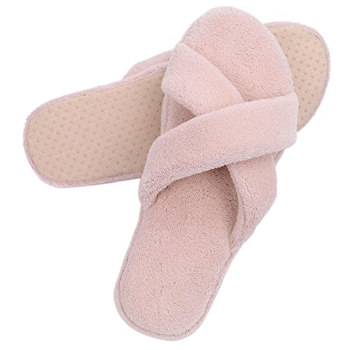 Home Slipper Womens Coral Fleece Warm Indoor House Non Slip Spa Thong Slippers Pink-cross Straps n4asFFAaxU