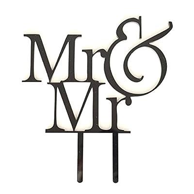 """""""Mr & Mr"""" Groom & Groom Silhouette Wedding Cake Topper Pick - High Gloss Black Finish"""